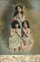 Three Scantily Clad Girls with Hands Folded in Prayer