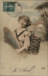 Girl Holding Fish with Basket of Flowers on Her Back