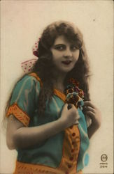 Young Woman with Long Dark Hair Holding Flowers