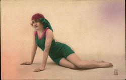 Woman in old fashioned bathing suit