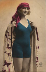 Woman Wearing Swimsuit and Cape