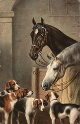 Two Horses with Four Dogs