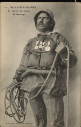 Man with Honor Medals Dressed for the Sea Holding Rope
