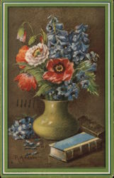Blue, Red and Pink Flowers in Green Vase