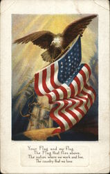 Eagle Holding an American Flag