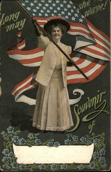 A Woman Waving an American Flag