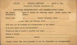 S.P.E.E. - Spring Meeting - May 3, 1941 - Villanova College, Villanova, PA.