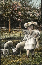 Llittle Girl In Dress Holding a Lamb