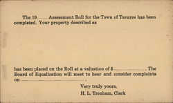 The 19__ Assessment Roll for the Town of Tavares has Been Completed