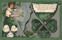 Girl Playing Harp Near Shamrocks