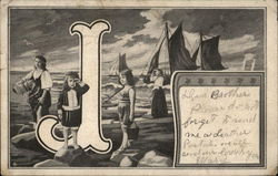 Letter J Young Girls and Women at the Shore, Looking, with Boats in Background