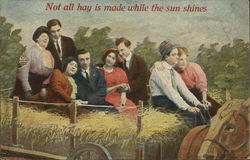 Group of Four Couples on Hay Wagon