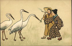 Chinese Couple Feeding Frog to Three Storks
