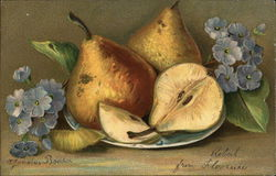 Golden Pears on a Plate