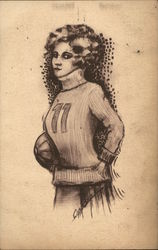 A Woman in a Jersey Holding a Basketball