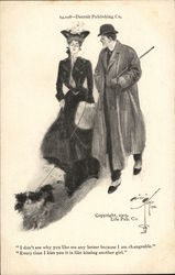 Woman Walking Dog Accompanied by Man Postcard