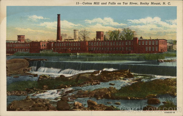 Cotton Mill and Falls on Tar River Rocky Mount North Carolina