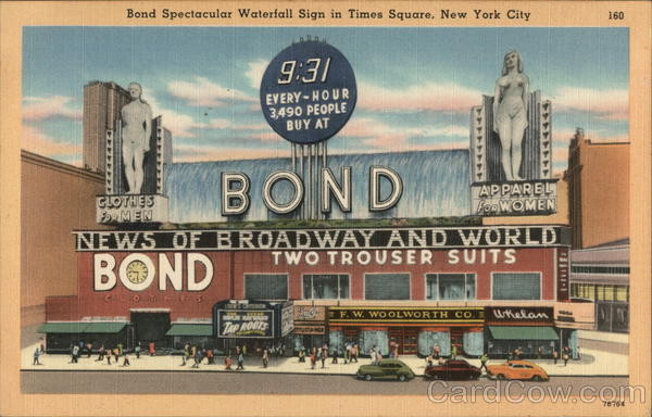 Bond Waterfall Sign on Times Square New York City `
