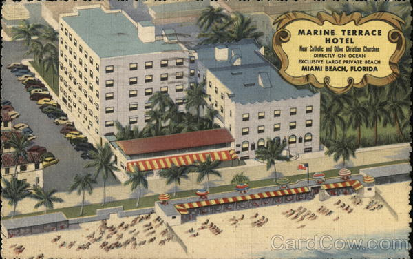 Marine terrace hotel miami beach fl postcard for Terrace hotel florida