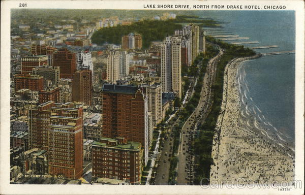 Lake Shore Drive, North from Drake Hotel Chicago Illinois