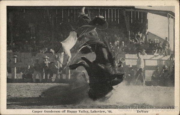Casper Gunderson off Happy Valley, Lakeview 1944 Rodeos
