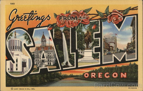 Greetings from Salem Oregon Large Letter