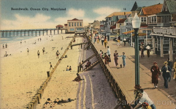 Boardwalk and Beach Ocean City Maryland