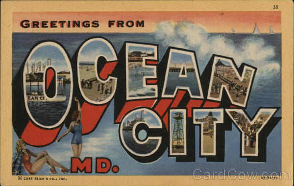 Greetings From Ocean City, Md. Maryland Large Letter