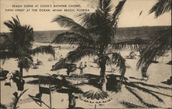 Cook's Bathing Casino - Beach Scene Miami Beach Florida