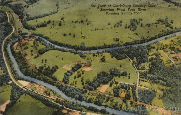 A View of Clarksburg Country Club, Showing West Fork River Forming Giant's Foot West Virginia