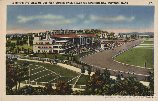 A Bird's-Eye-View of Suffolk Downs Race Track on Opening Day Boston Massachusetts