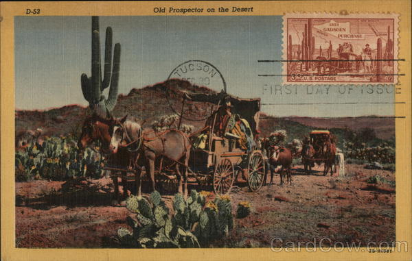 Old Prospector on the Desert Cowboy Western Maximum Cards