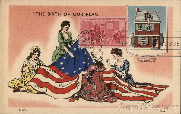 The Birth of Our Flag, Women Sewing U. S. Flag with Inset of Betsy Ross House Philadelphia Pennsylvania