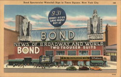 Bond Waterfall Sign on Times Square Postcard