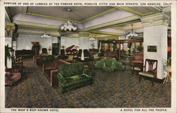 Portion Of One of Lobbies Of the Famous Hotel Rosslyn Fifth and Main Streets