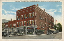 Corner of Arch and Main, showing Alliance Business College Postcard