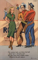 Two Cowboys Eyeing Cowgirl