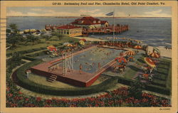 Swimming Pool and Pier - Chamberlin Hotel Postcard