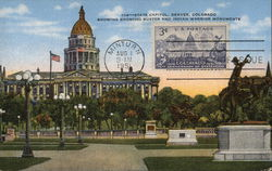 State Capitol, Denver, Colorado -Showing Broncho Buster and Indian Warrior Monuents