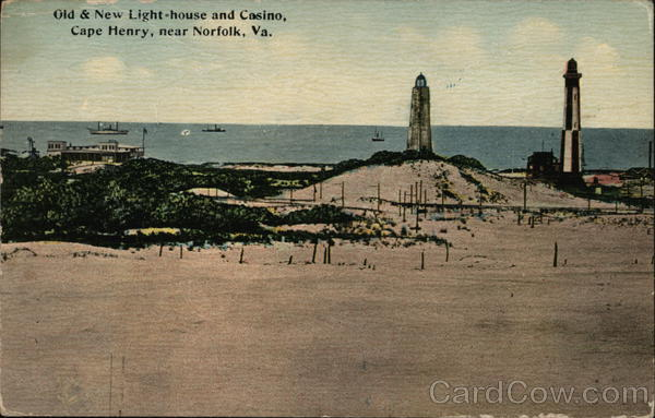 Old & New Light Houses and Casino, Cape Henry Norfolk Virginia