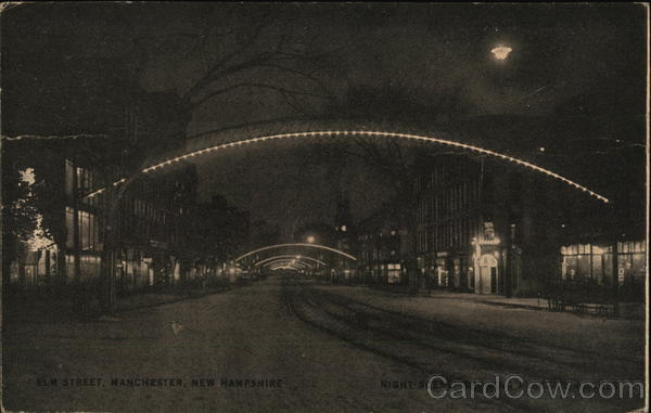 Elm Street - Night Scene with Electric Arches Manchester New Hampshire