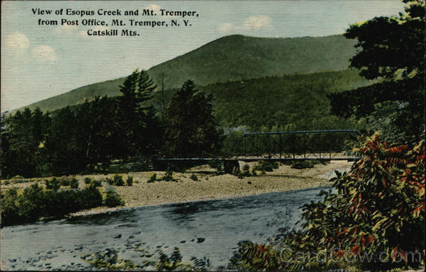 Esopus Creek and Mt. Tremper from Post Office Mount Tremper New York