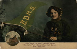 Girl Holding B.D.H.S. Pennant - High School