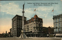 Soldiers' and Sailors' Monument and Allen Hotel at Centre Square