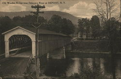 Old Wooden Bridge Over Delaware River