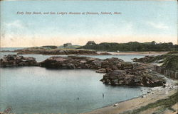 Forty Step Beach and Sen. Lodge's Mansion at Distance Postcard