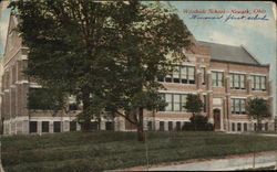 Woodside School Building Postcard