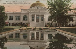 State Teachers College - Library and Pool Postcard