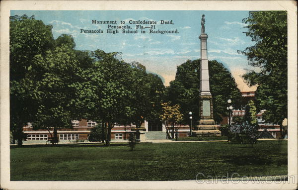 Monument to Confederate Dead and Pensacola High School Florida