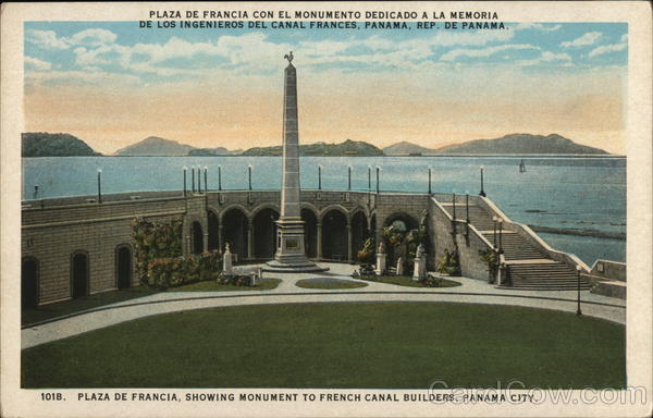 Plaza de Francia showing Monument to French Canal Builders Panama City